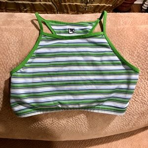 Fila New Green/Blue Striped Sports Bra/Top